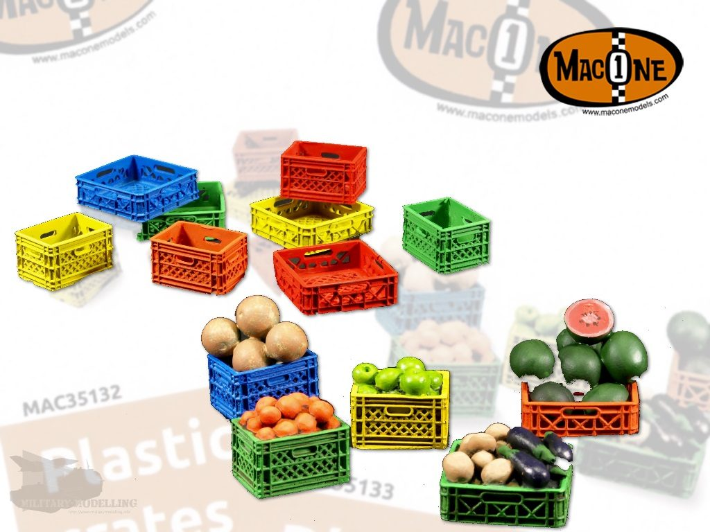 MacOne: Plastic crates with and without fruits