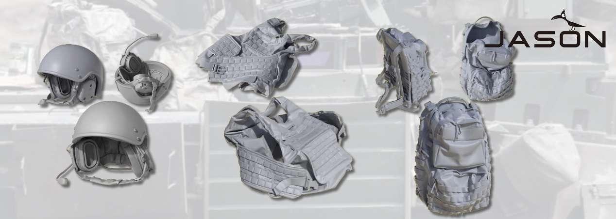 JASON STUDIO: U.S. Tank Crew Helmets, Bulletproof Vest and Backpack